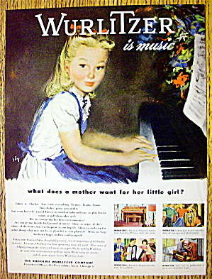 1946 Wurlitzer Company With Girl Playing The Piano