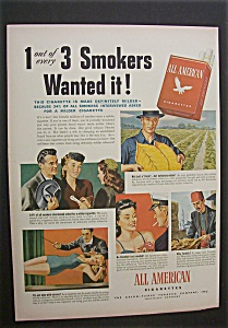 1944 Dual Ad: All American Cigarettes & Firestone