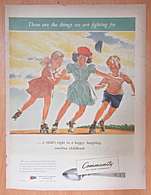 1943 Community Silverplate with Children Roller Skating (Image1)