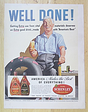 1942 Schenley Whiskey With Man Sitting With Drink