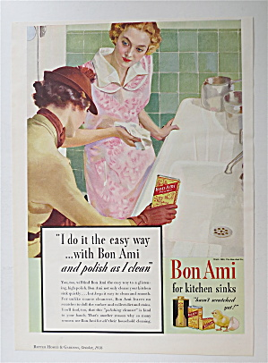 1936 Bon Ami Powder With 2 Women Looking At Clean Sink