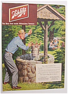 1951 Schlitz Beer W/man Pulling Up Bottles By Dave Mink