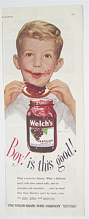 1946 Welch's Grapelade Grape Jam W/boy & Jam On Face