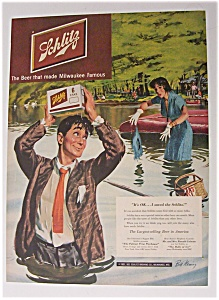 1951 Schlitz Beer With Man Who Really Loves Beer