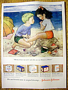 1949 Johnson & Johnson Surgical Dressings w/Boy & Girl (Image1)