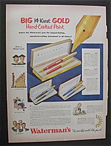 1951 Dual Ad:  Waterman's  Pens  &  Puerto  Rican  Rum (Image1)