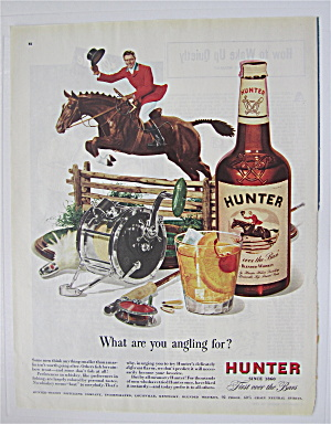 1948 Hunter Whiskey With Man On Horse Jumping Fence