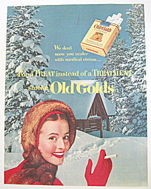 1951 Old Gold Cigarettes With Woman Smoking