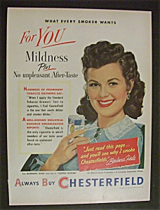 1951 Chesterfield Cigarettes With Barbara Hale