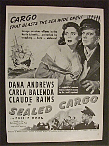 1951 Movie Ad For Sealed Cargo