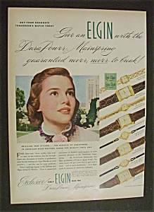 1951 Dual Ad: Elgin Watches & Singer Sewing Centers
