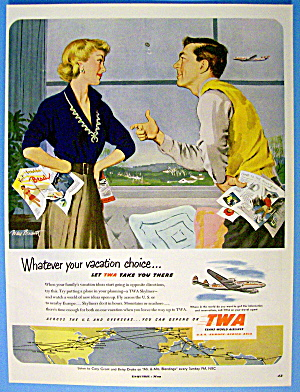 1951 Twa Airlines With Man Flipping Coin For Vacation
