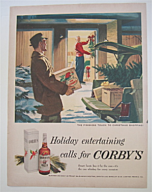1951 Corby's Whiskey With Finishing Touch To Christmas