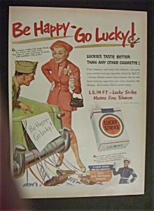1951 Dual Ad: Lucky Strike & Sunkist Orange Juice