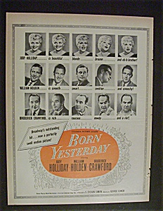 1951 Movie Ad For Born Yesterday