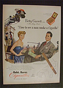 1951 Robt Burns Cigarillos With Betty Garrett