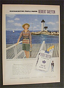 1951 Herbert Tareyton Cigarettes W/woman & Fishing Pole