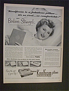 1952 Koolfoam Pillows With Barbara Stanwyck