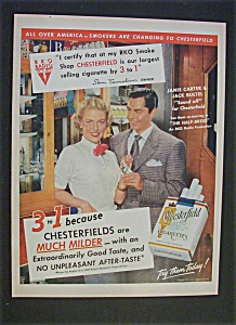 1952 Chesterfield Cigarettes W/ Carter & Buetel