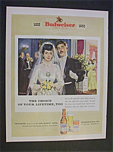1952 Budweiser Beer With Bride & Groom