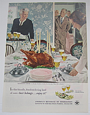 1951 Beer Belongs By Douglas Crockwell (Thanksgiving) (Image1)