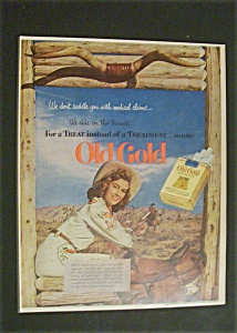 1952 Old Gold Cigarettes W/ Woman Dressed As A Cowboy