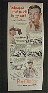 Vintage Ad: 1952 Purolator Oil Filter with Joe E. Brown (Image1)