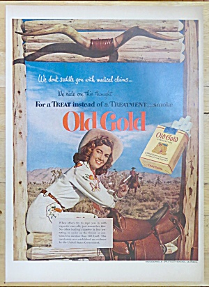 1952 Old Gold Cigarettes W/ Woman Sitting On A Fence