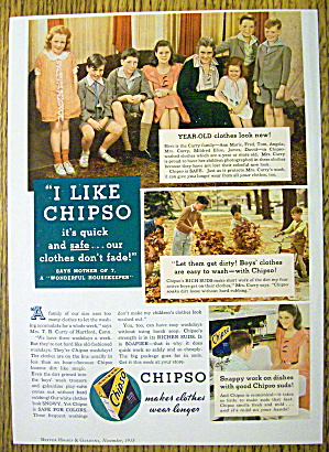 1935 Chipso Quick Suds With A Woman & 7 Children