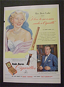 1952 Robt Burns Cigarillos W/ Mr & Mrs. Bert Lahr