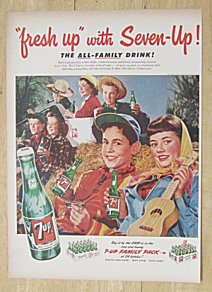1952 7 Up (Seven Up) With Boys & Girls On Hay Pile