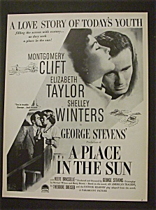 "1951 Movie Ad For ""a Place In The Sun"""