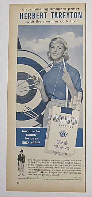 1956 Herbert Tareyton Cigarettes With Woman & Dartboard