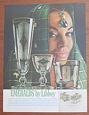 1961 Libbey Glass with Emeralds & Lovely Woman  (Image1)