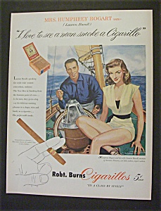 1951 Robt Burns Cigarillos W/ Lauren Bacall
