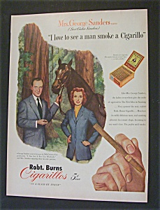 1951 Dual Ad: Robt Burns Cigarillos & Old Crow