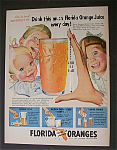 1951 Dual Ad: Florida Oranges & Post Sugar Crisp