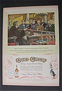 1952 Dual Ad: Old Crow Whiskey & Mennen Baby Oil