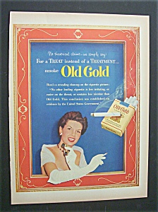 1952 Old Gold Cigarettes W/ Woman Holding Opera Glasses