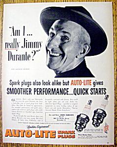 Vintage Ad: 1952 Auto Lite Spark Plugs w/Jimmy Durante (Image1)