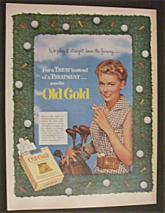 1952 Old Gold Cigarettes With Woman Holding A Golf Bag