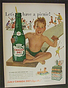 1952 Canada Dry Ginger Ale W/ Little Boy Holding Bottle