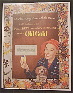 1952 Old Gold Cigarettes With Woman Holding Cigarettes