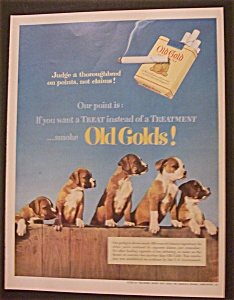 1952 Old Gold Cigarettes With Five Puppies
