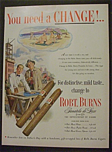 1952 Robt Burns Panatela De Luxe Cigars