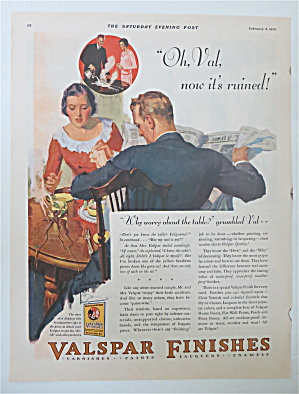 1930 Valspar Finishes w/ Woman Spilling Coffee on Table (Image1)
