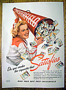 1940 Chesterfield Cigarettes with Woman & Bull Horn  (Image1)