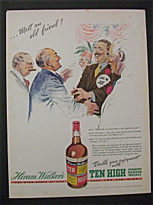 1938 Dual Ad: Ten High Whiskey & Camel Cigarettes