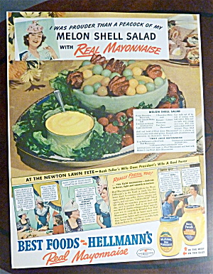 1940 Hellmann's Mayonnaise with Melon Shell Salad (Image1)
