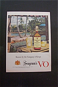 1950's Seagram's Vo With Bottle Of Seagram's & Glass